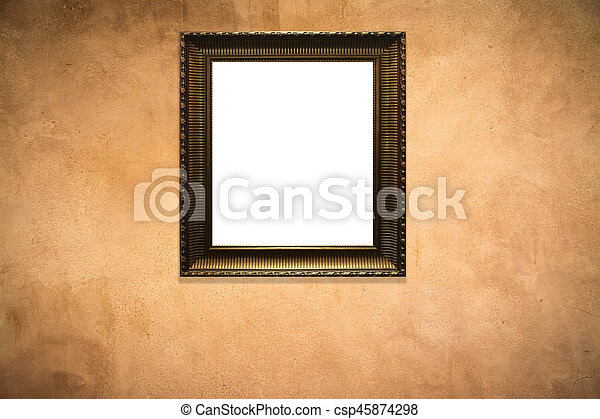 wooden picture frame on old wall background