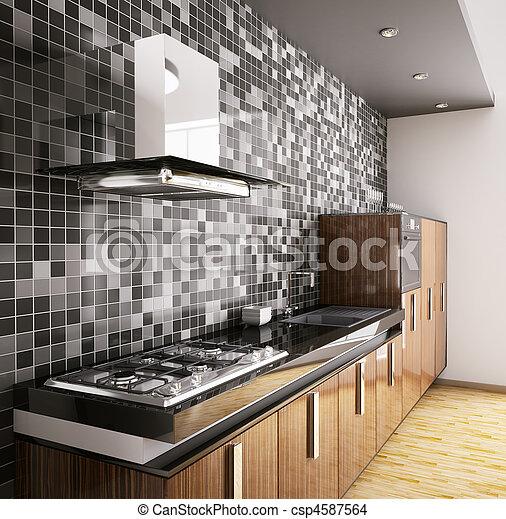 Stock foto van moderne hout interieur keuken ebbehout for Keuken plannen in 3d