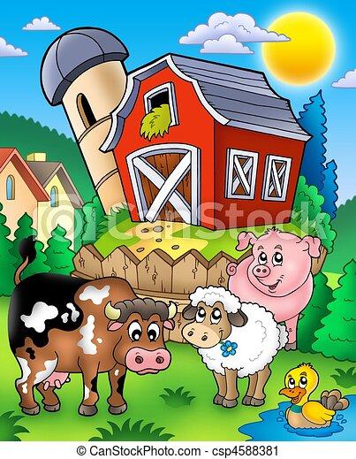 Farm animals near barn - csp4588381