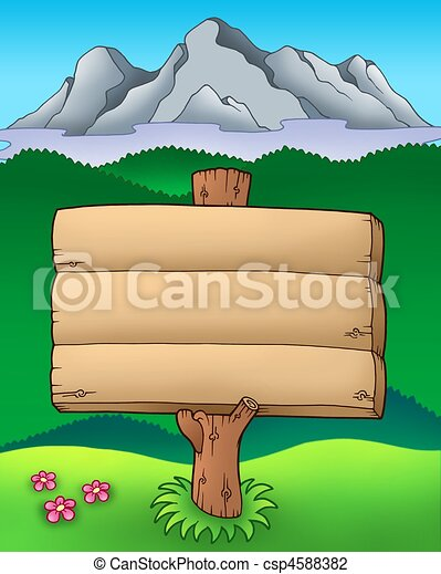 Big wooden sign with mountains - csp4588382