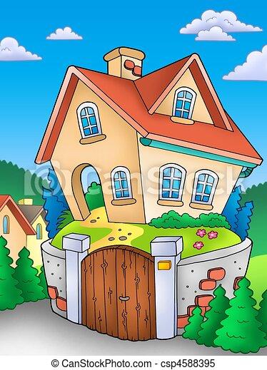 Illustrations de campagne maison famille famille - Dessin maison de campagne ...