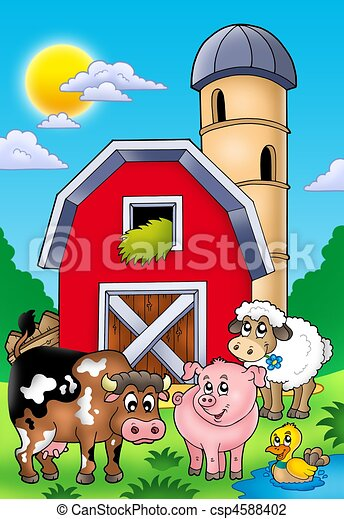 Big red barn with farm animals - csp4588402