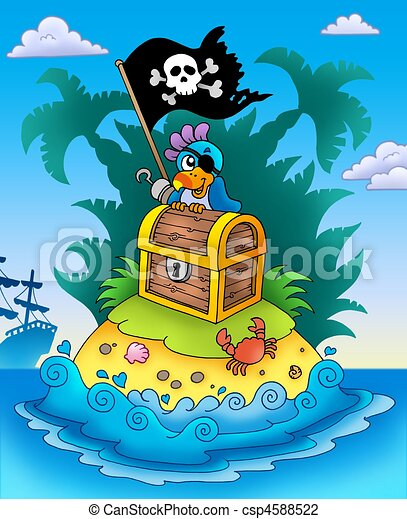 Small island with chest and parrot - csp4588522