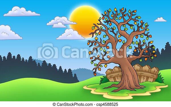 Stock de Ilustrationes de frondoso, árbol, otoño, paisaje ...