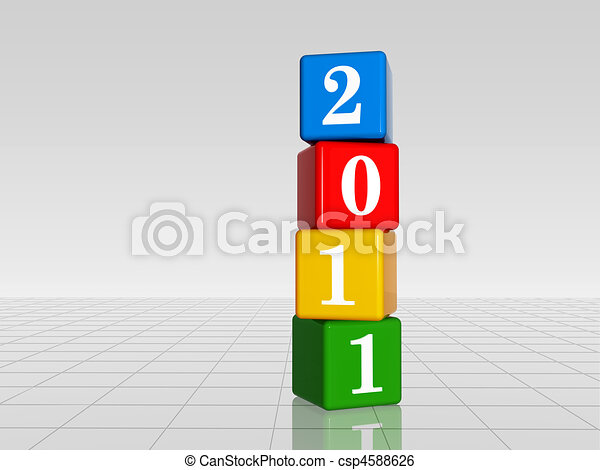 colour cubes with 2011 with reflection - csp4588626