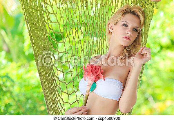 Stock Photo - Woman in hammock. Woman in hammock - csp4588908