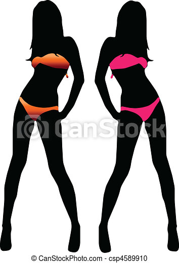 Bikini woman silhouette - csp4589910
