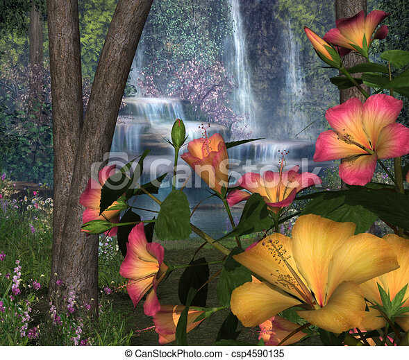 Hibiscus Flowers with Waterfalls - csp4590135