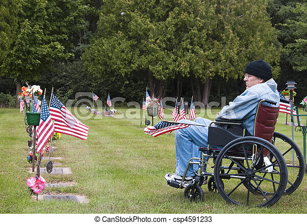 veteran in a wheelchair at the cemetary - csp4591233