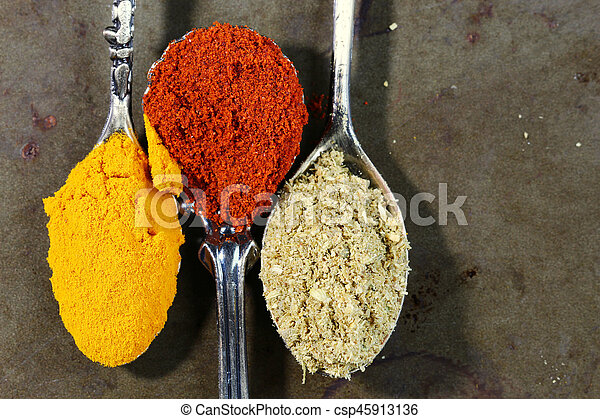 Spices and spoons background - csp45913136