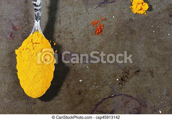Yellow Turmeric in a spoon - csp45913142