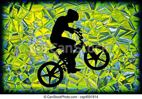 menino, bicicleta, silueta - csp4591814
