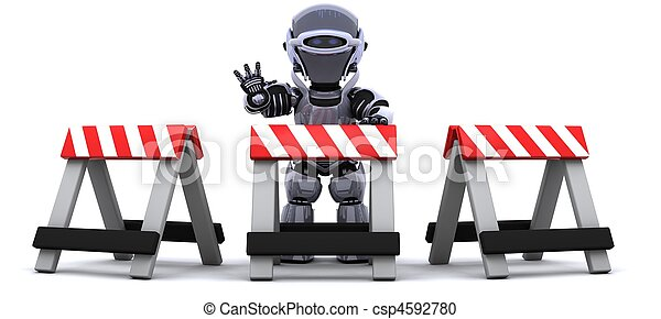 robot behind a barrier - csp4592780
