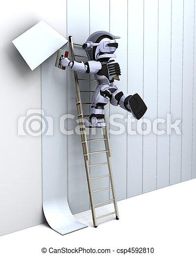 robot decorating a wall - csp4592810