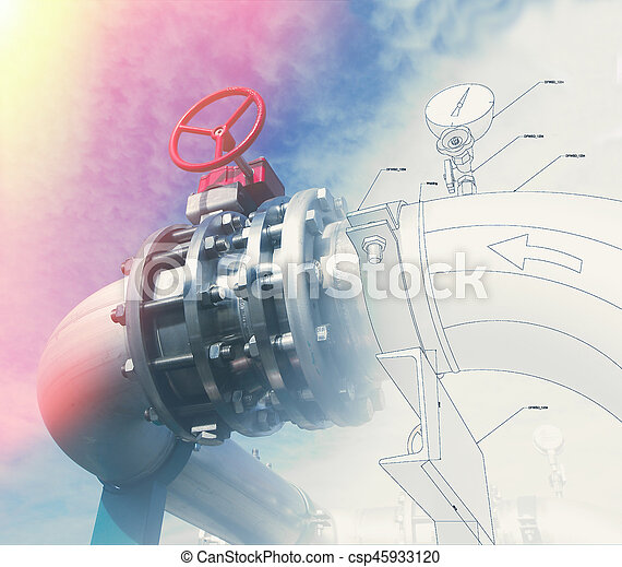 Background of mechanical engineering drawings, industry, education - csp45933120