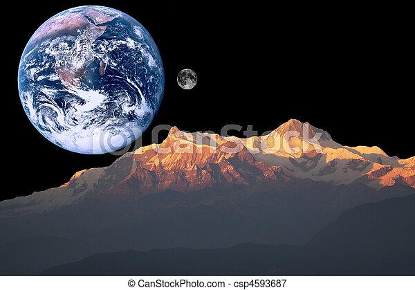 Composite photographs creating a outer space landscape.