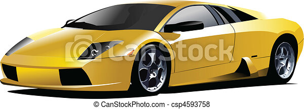 Yellow sport  car on the road. Vec - csp4593758