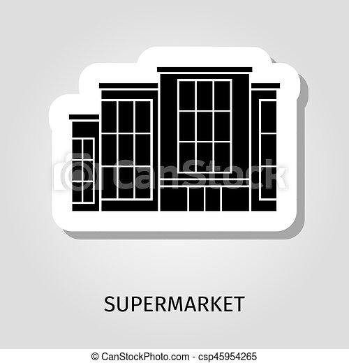 Supermarkt gebäude clipart  Clip Art Vektor von gebäude, aufkleber, schwarz, supermarkt ...