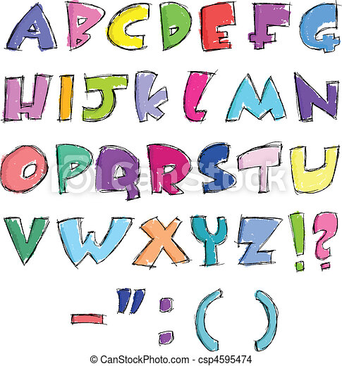 Colorful sketchy letters - csp4595474