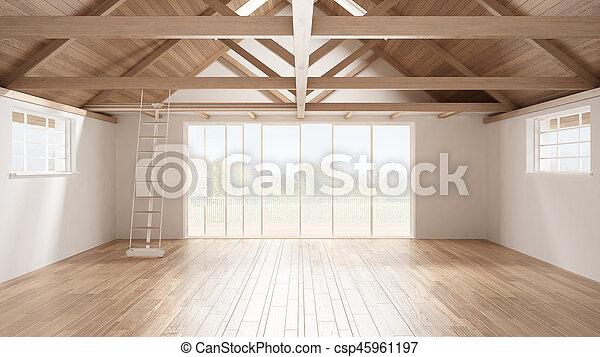 Minimalist mezzanine loft, empty industrial space, wooden roofing and parquet floor, scandinavian classic interior design with garden panorama