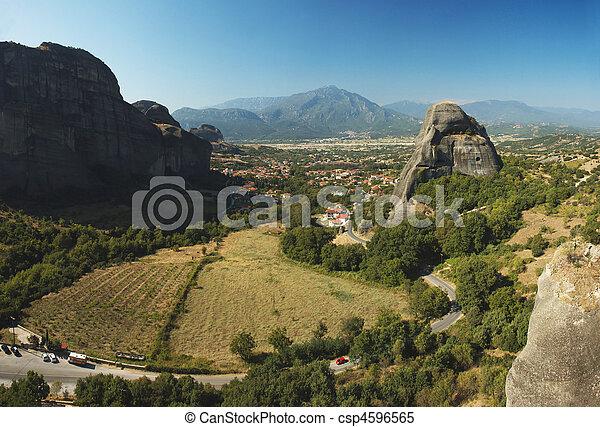 Panorama of Kalampaka from Agios Nikolaos rock monastery, Meteora, Greece, it's unesco world heritage site   - csp4596565