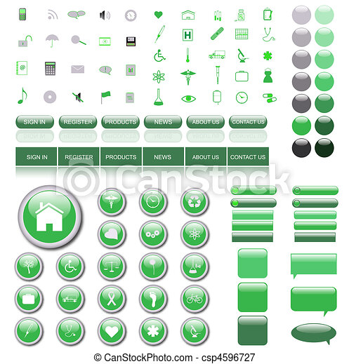 Green web template with icons, buttons, bars and chat bubbles. - csp4596727