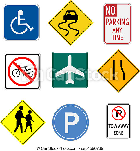 Image of various signs on a white background. - csp4596739