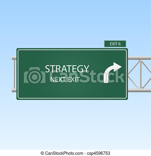 "Image of a highway sign with an exit to ""STRATEGY"" with a sky background. - csp4596753"