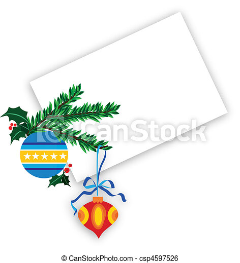 blue ornate christmas ball with holly berries on a white background - csp4597526