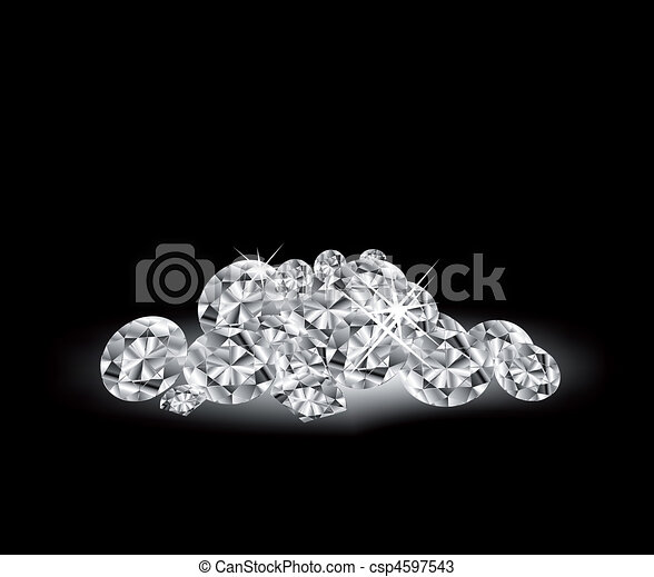 Vector Diamonds on black surface - csp4597543