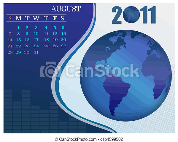 August Bussines Calendar. - csp4599502