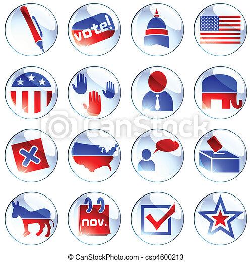 Set of white election icons - csp4600213