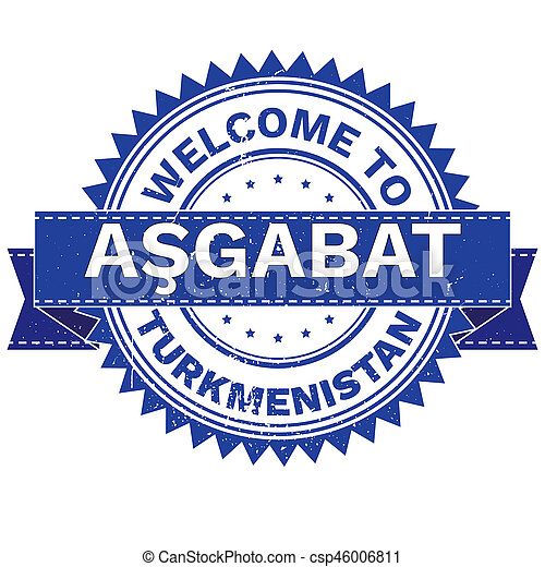 Illustration of WELCOME TO City ASGABAT Country TURKMENISTAN. Stamp. Sticker. Grunge Style. JPEG .