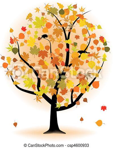 Maple tree, autumn leaf fall. - csp4600933