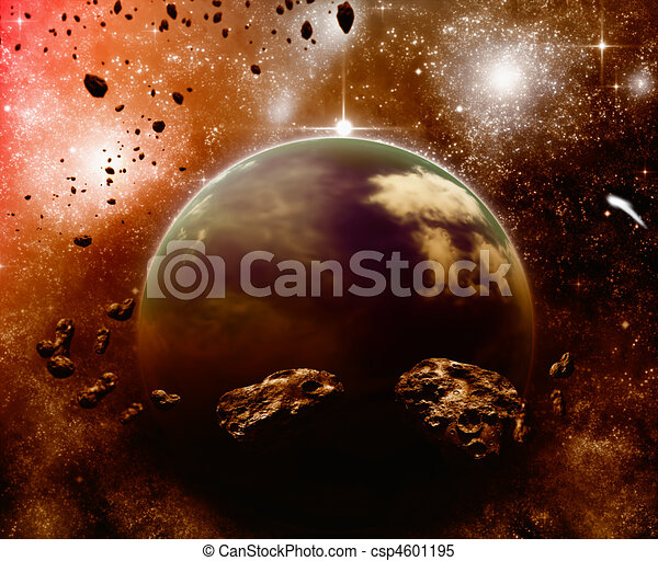 Planet in space, asteroid field - csp4601195