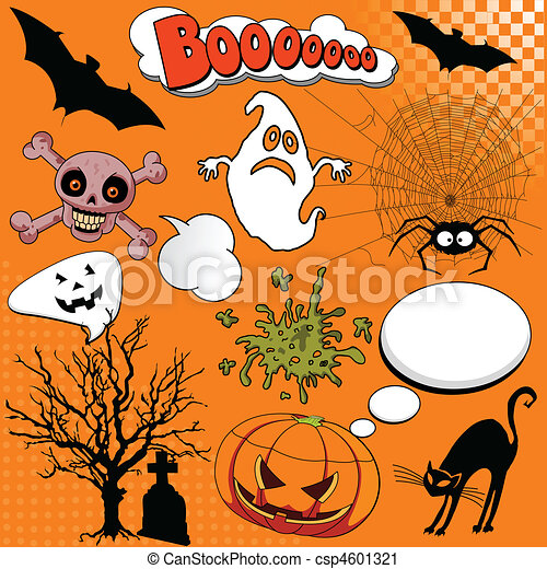 Halloween Comic elements - csp4601321