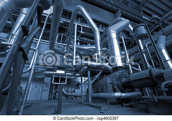 Industrial zone, Steel pipelines in blue tones - csp4602397