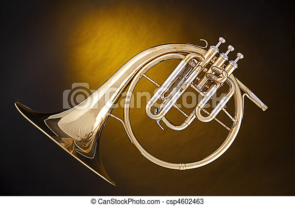 Antique French Horn Isolated - csp4602463