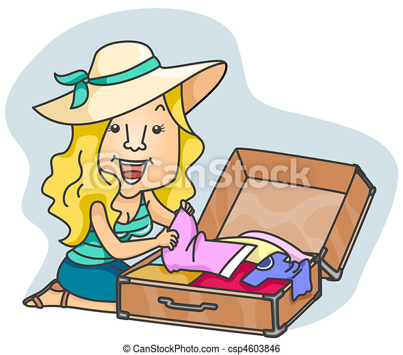 Stock Illustration of Woman Packing - A Beaming Woman ...