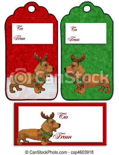 Stock Illustration of Christmas labels Dachshund dog - Christmas ...