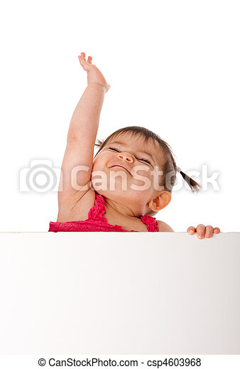 Happy baby holding white board and reaching up - csp4603968