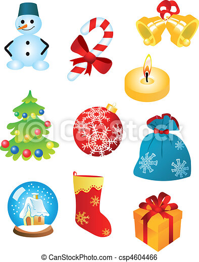 Clip Art Vector Of Christmas Icons And Symbols For Design