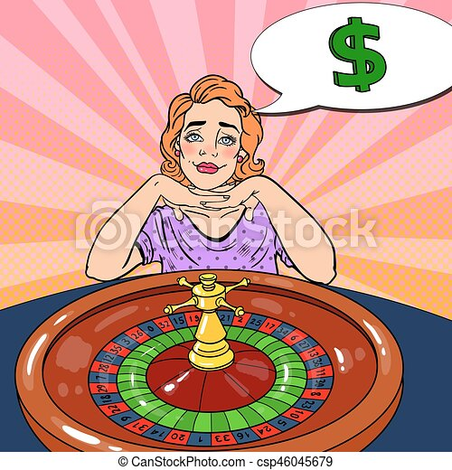 Woman Behind Roulette Table Dreaming About Big Win. Casino Gambling. Pop Art Vector retro illustration - csp46045679