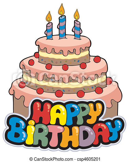 Happy birthday sign with cake - csp4605201