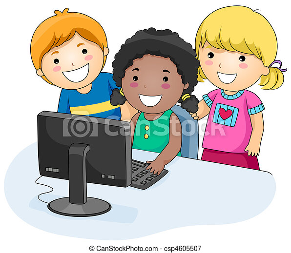 Resultado de imagem para desenho de crianças mexendo no computador