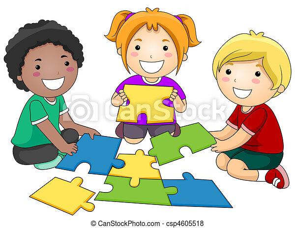 Stock de ilustraciones de rompecabezas ni os un - One of your students left their book on the table ...
