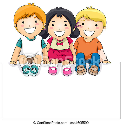 Kids with Blank Board - csp4605599