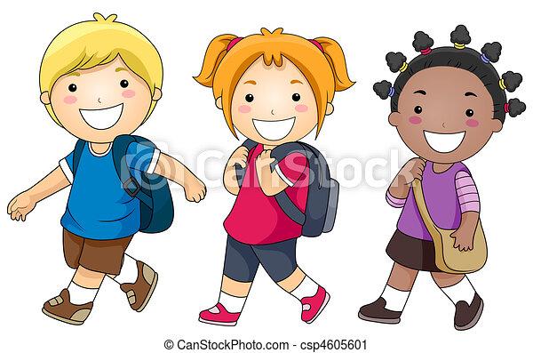 Dibujo niño yendo ala escuela - Imagui