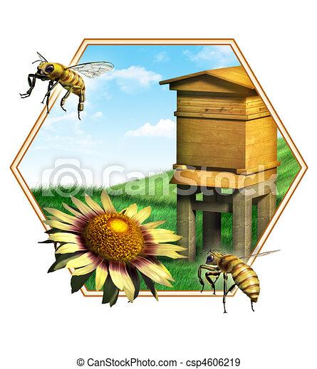 Illustration de ruche abeille gentil composition de - Dessin de ruche d abeille ...