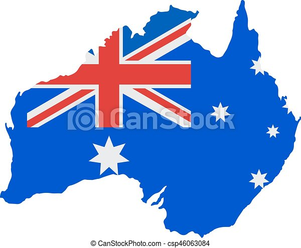 Australia map with flag - csp46063084